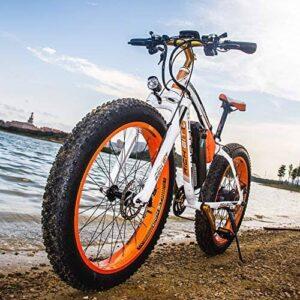 fat bike electrique orange bord d'un lac